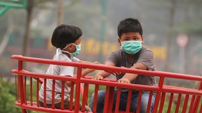 Children in Indonesia with face masks