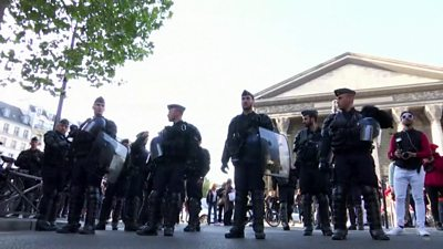 Police were deployed in central Paris to deal the protests