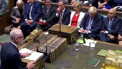 Labour leader Jeremy Corbyn and PM Boris Johnson in Parliament