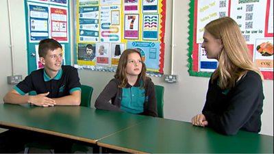 Pupils at Ysgol Gyfun Gymraeg Bro Edern, Llanedeyrn