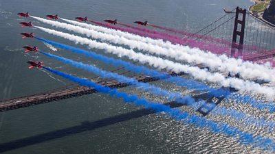 Red Arrows over Golden Gate Bridge