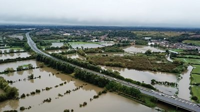 Drone footage shows extent of Leicestershire flooding