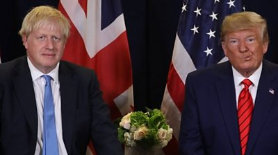 Donald Trump meets Boris Johnson at the UN General Assembly in New York City