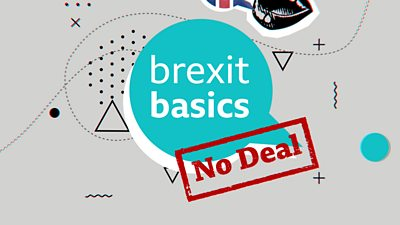 Speech by bubble saying Brexit basics with a no-deal stamp across it