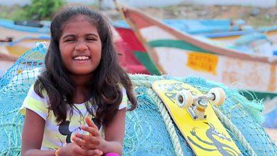 Kamali, nine-year-old skateboarder