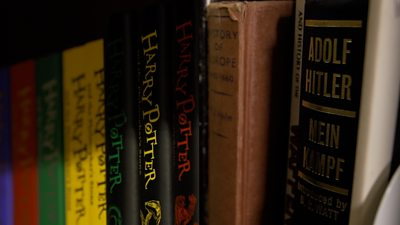 Harry Potter books next to Mein Kampf