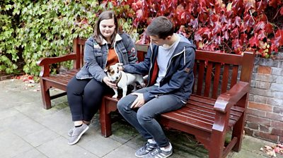 Students and dog