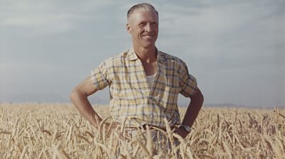 Dr Norman Borlaug standing in a wheat field