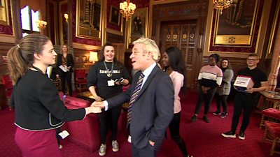 Speaker John Bercow meeting teenagers campaigning against abusive language in Parliament.
