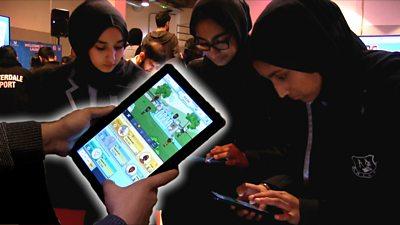 Three girls play the app
