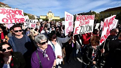 Protesters demend better treatment for victims of sexual violence at a rally in Croatia
