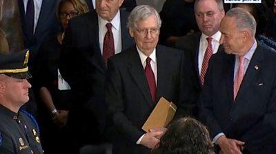Republican Senate Majority Leader Mitch McConnell is snubbed at Elijah Cummings' memorial service.