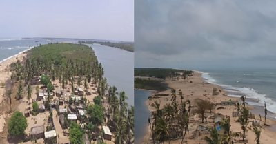 Split screen showing erosion of beach between 2016 and 2019