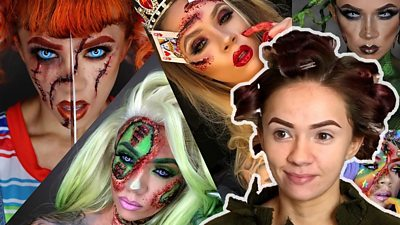 Women with Halloween make up
