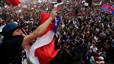 protesters in Santiago de Chile
