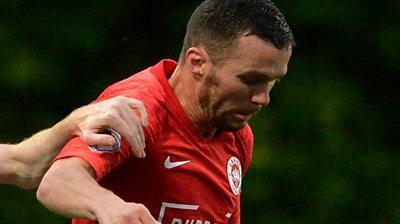 Martin Donnelly scores the equaliser for Larne