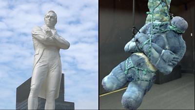 Composite of Raffles statue and artwork