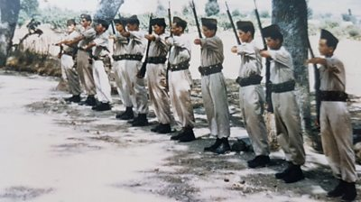 Harki army recruits standing to attention