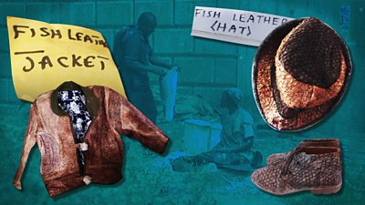 Fish leather products - a hat, jacket and shoes