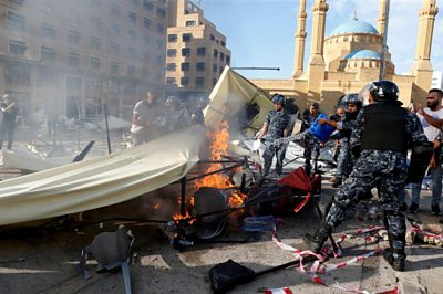Damaged and burning protesters' camp in Beirut