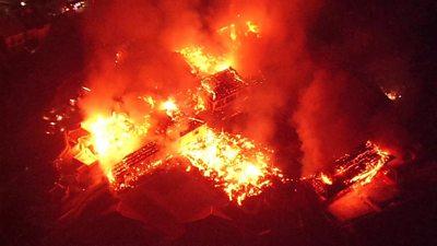Shuri Castle in flames