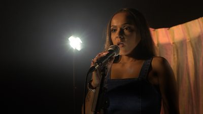 A woman singing