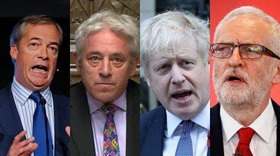Nigel Farage, Johns Bercow, Boris Johnson, Jeremy Corbyn