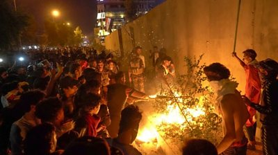 They demanded Iran stop interfering in Iraq's internal affairs and climbed the consulate's walls in Karbala.