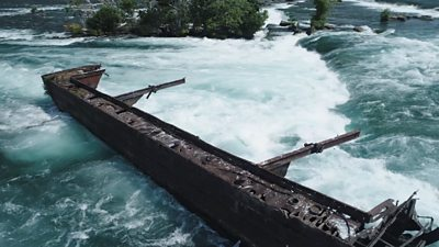101 Year Old Ship Dislodged Above Niagara Falls Bbc News