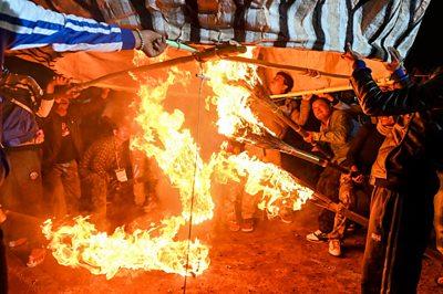 Myanmar fire festival.