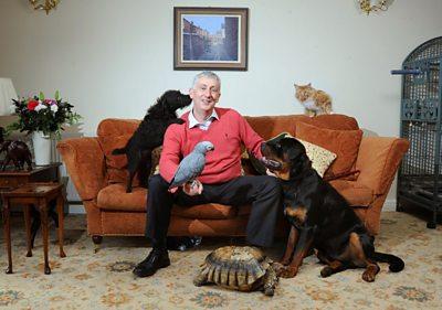 Sir Lindsay Hoyle with his pets
