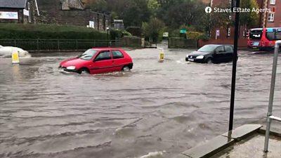 A car driving through water