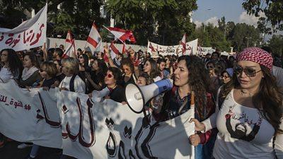 Women protesting in Lebanon
