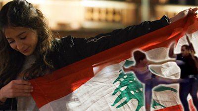 Female protesters in Lebanon