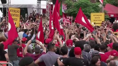 Lula is greeted by supporters