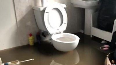 Flooded bathroom in Fishlake