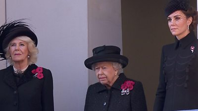 The Queen with The Duchess of Cornwall and the Duchess of Cambridge