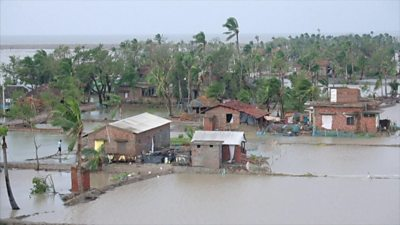 A village flooded by the cyclone