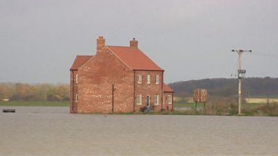 Lincolnshire farmer cut off by flood water