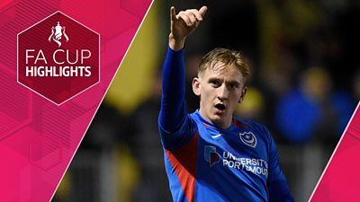Watch highlights as Portsmouth recover from conceding an early goal to beat Harrogate Town 2-1 in their FA Cup first round tie which was delayed by 55 minutes due to a power cut.