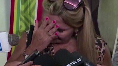 Jeanine Añez crying