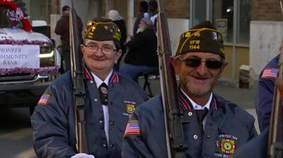 Two people in Veterans Day parade in West Virginia