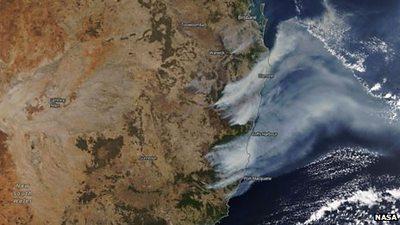 Australia satellite picture of bushfires