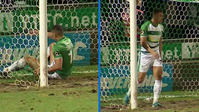 'What a miss!' - Yeovil player blazes over from point-blank range