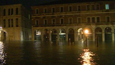 A flooded street in Venice