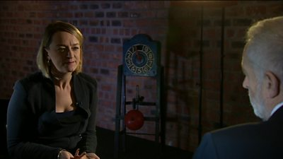 Laura Kuenssberg and Jeremy Corbyn