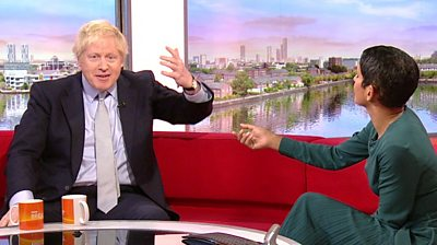 Boris Johnson on the BBC Breakfast sofa