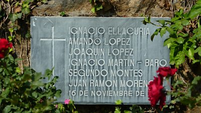 Plaque showing names of murdered priests