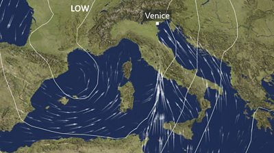 Weather map of Italy with wind arrows