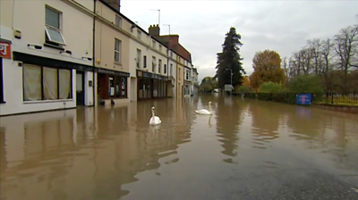 Flooded road in Evesham